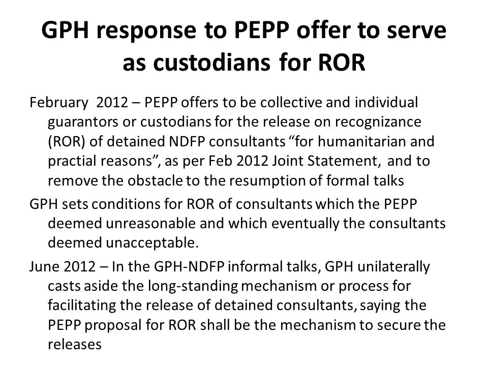 GPH response to PEPP offer to serve as custodians for ROR