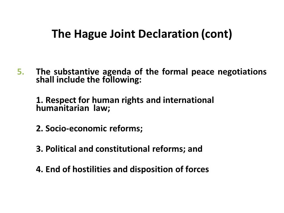The Hague Joint Declaration (cont)