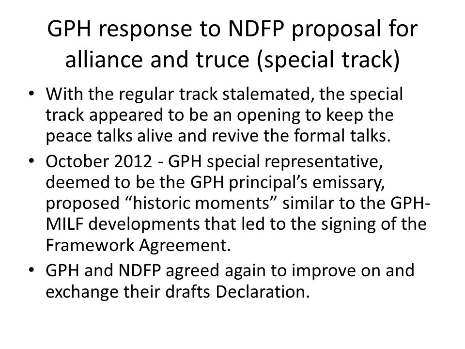 GPH response to NDFP proposal for alliance and truce (special track)