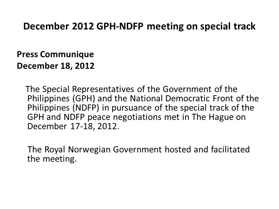 December 2012 GPH-NDFP meeting on special track