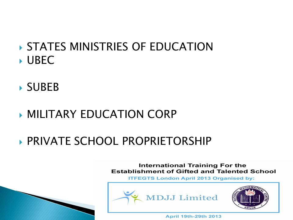 STATES MINISTRIES OF EDUCATION