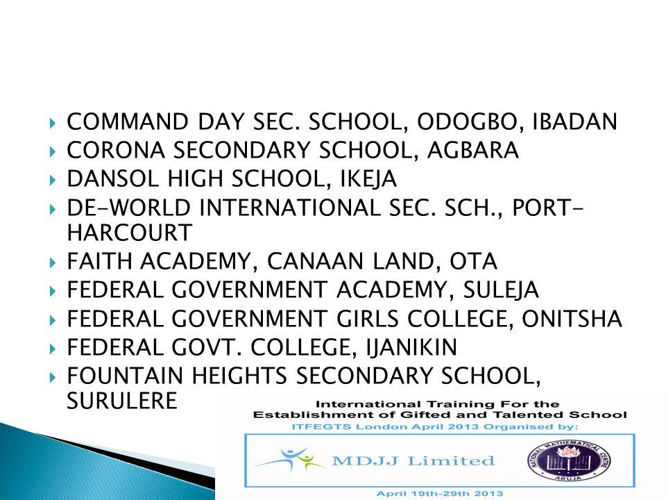 COMMAND DAY SEC. SCHOOL, ODOGBO, IBADAN