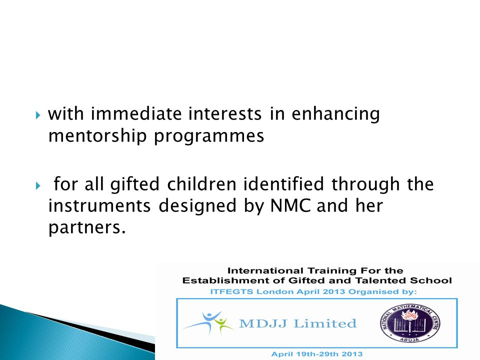 with immediate interests in enhancing mentorship programmes