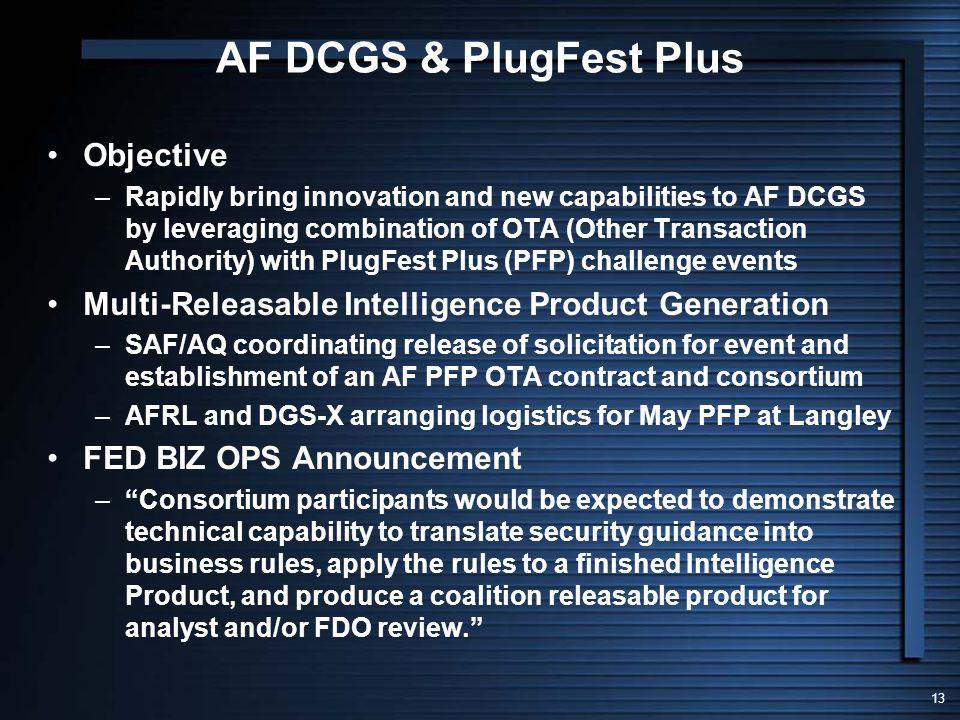 AF DCGS & PlugFest Plus Objective