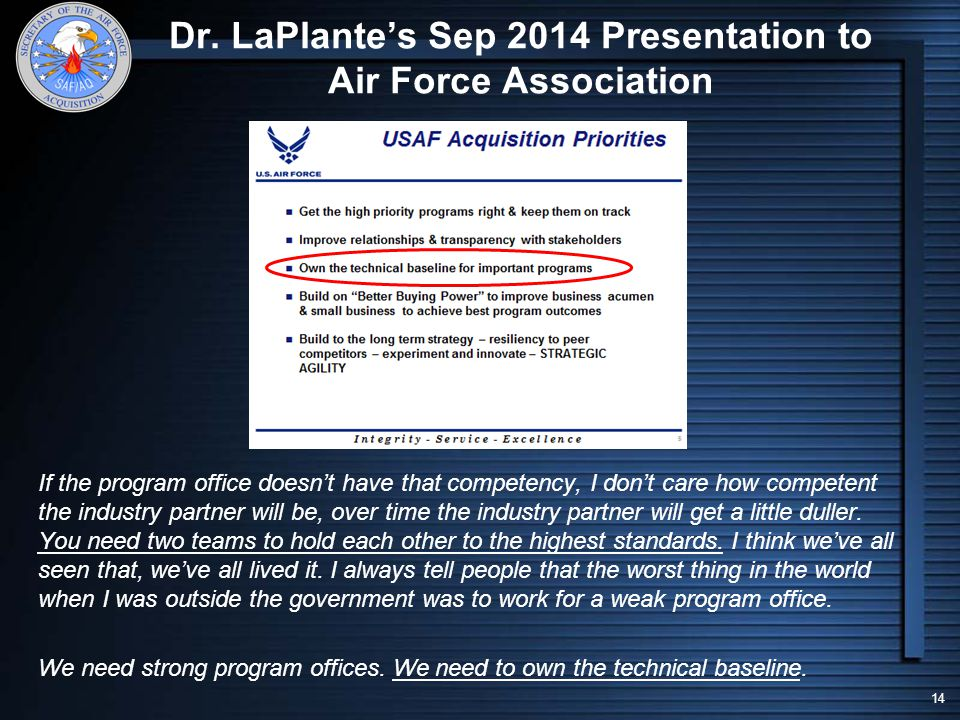 Dr. LaPlante's Sep 2014 Presentation to Air Force Association