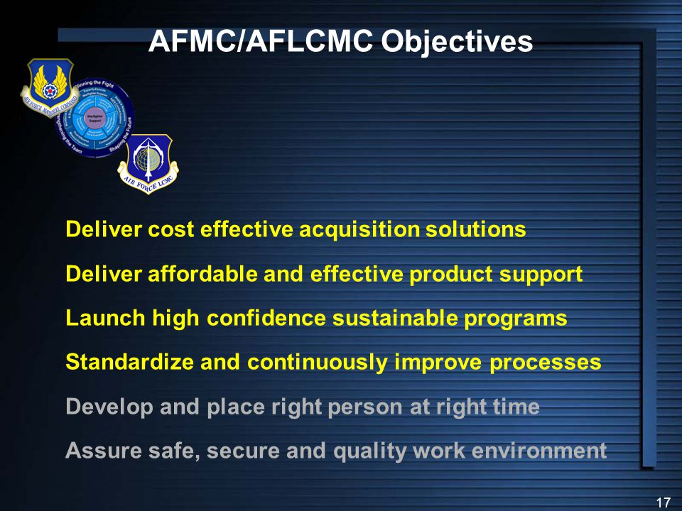 AFMC/AFLCMC Objectives