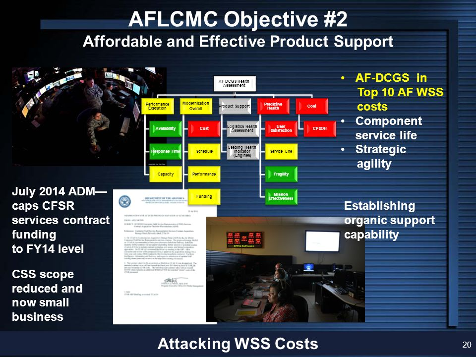 AFLCMC Objective #2 Affordable and Effective Product Support