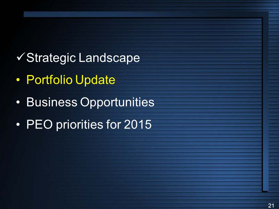 Strategic Landscape Portfolio Update Business Opportunities PEO priorities for 2015