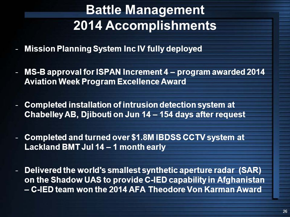 Battle Management 2014 Accomplishments