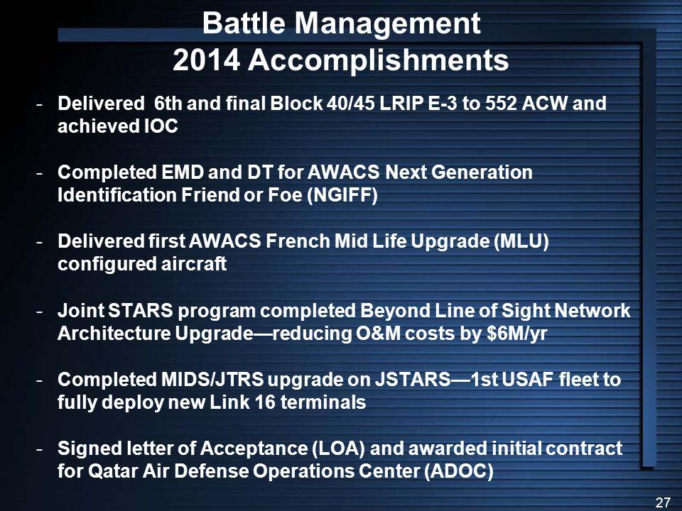 Battle Management 2014 Accomplishments