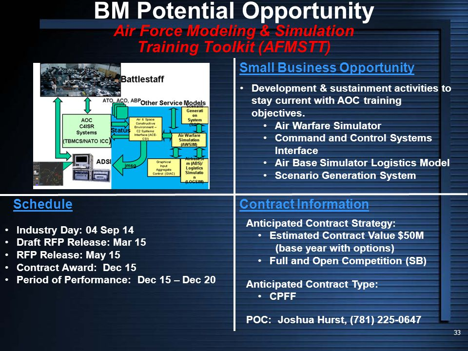 BM Potential Opportunity Air Force Modeling & Simulation Training Toolkit (AFMSTT)