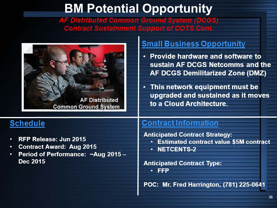 BM Potential Opportunity AF Distributed Common Ground System (DCGS) Contract Sustainment Support of COTS Cont.