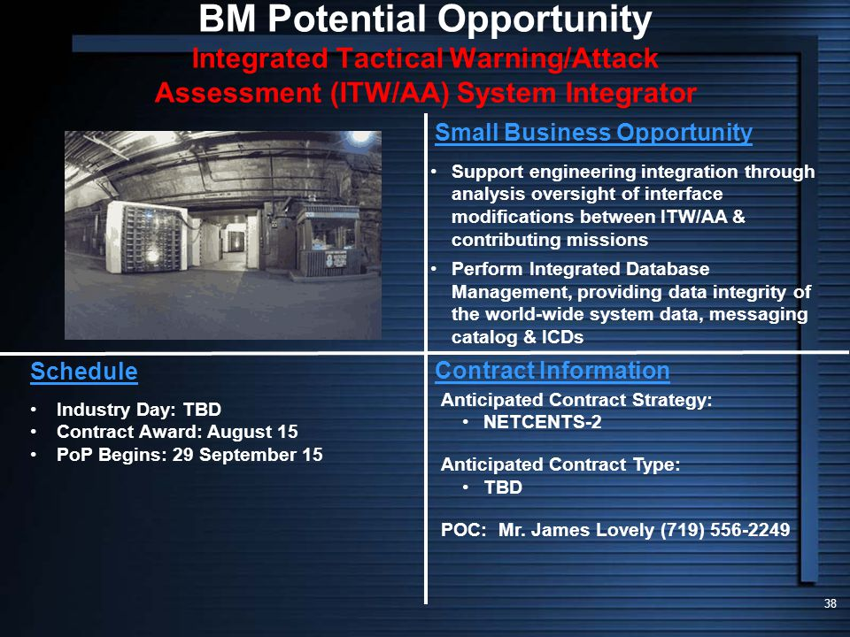 BM Potential Opportunity Integrated Tactical Warning/Attack Assessment (ITW/AA) System Integrator