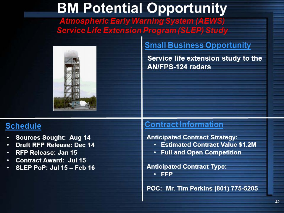 BM Potential Opportunity Atmospheric Early Warning System (AEWS) Service Life Extension Program (SLEP) Study