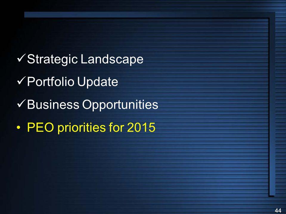 Strategic Landscape Portfolio Update Business Opportunities PEO priorities for 2015
