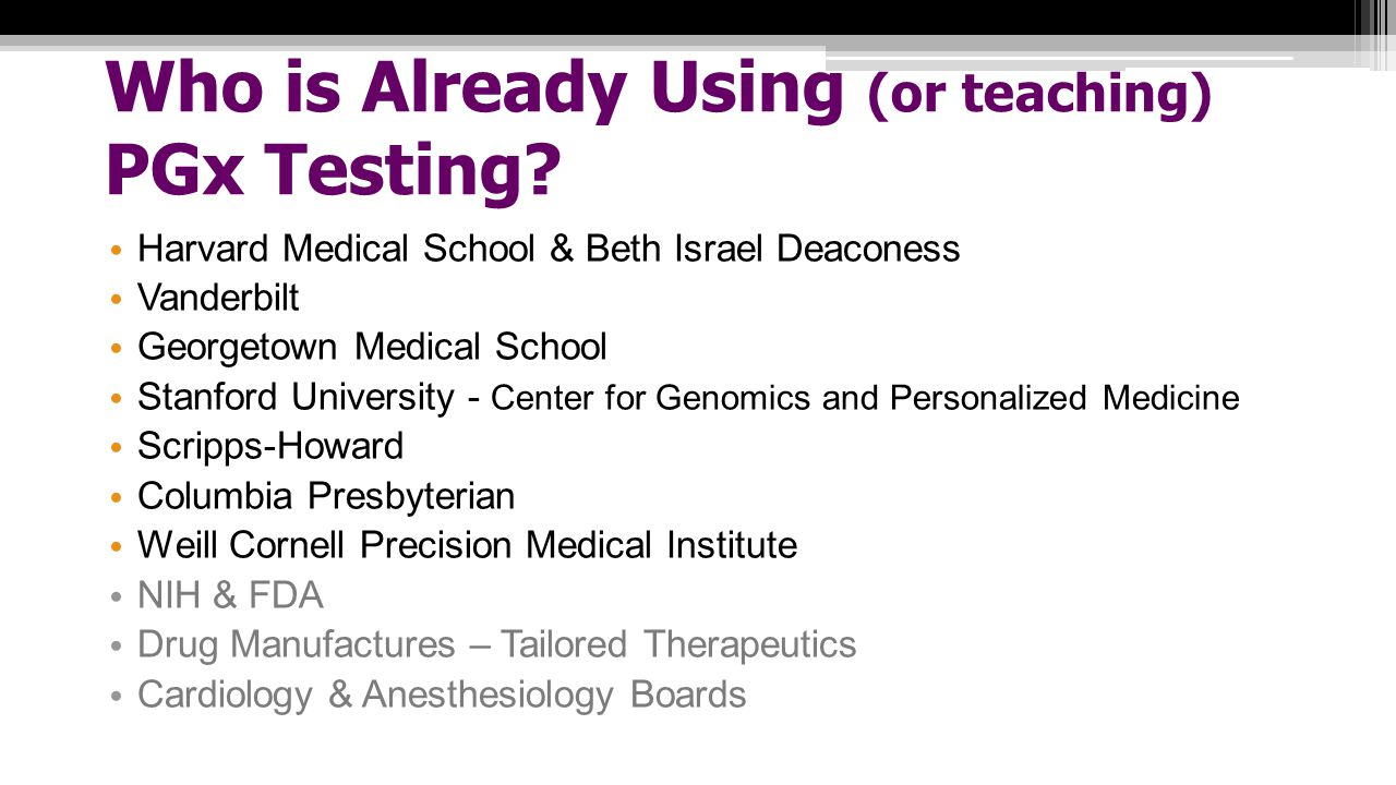 Who is Already Using (or teaching) PGx Testing