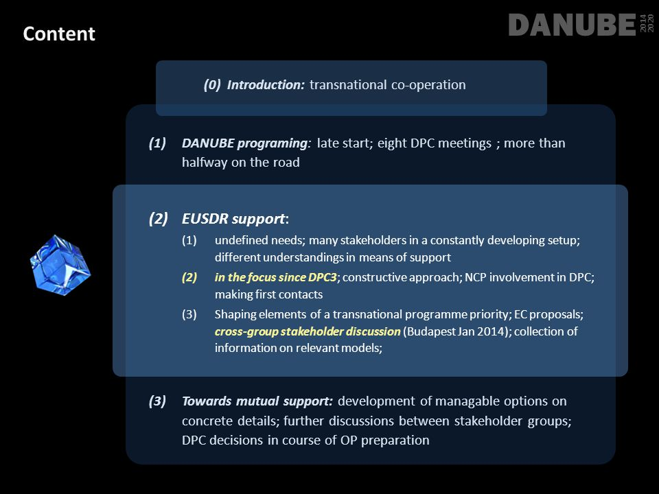DANUBE Content EUSDR support:
