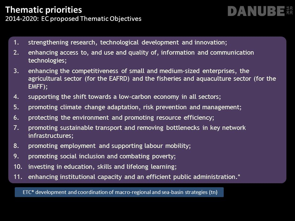 DANUBE Thematic priorities 2014-2020: EC proposed Thematic Objectives