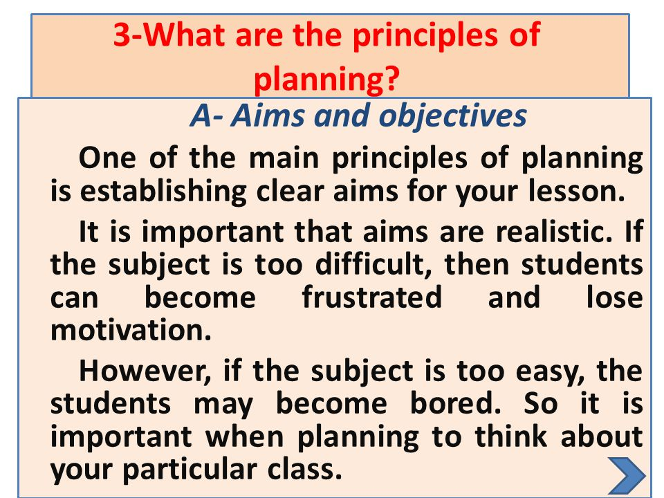 3-What are the principles of planning