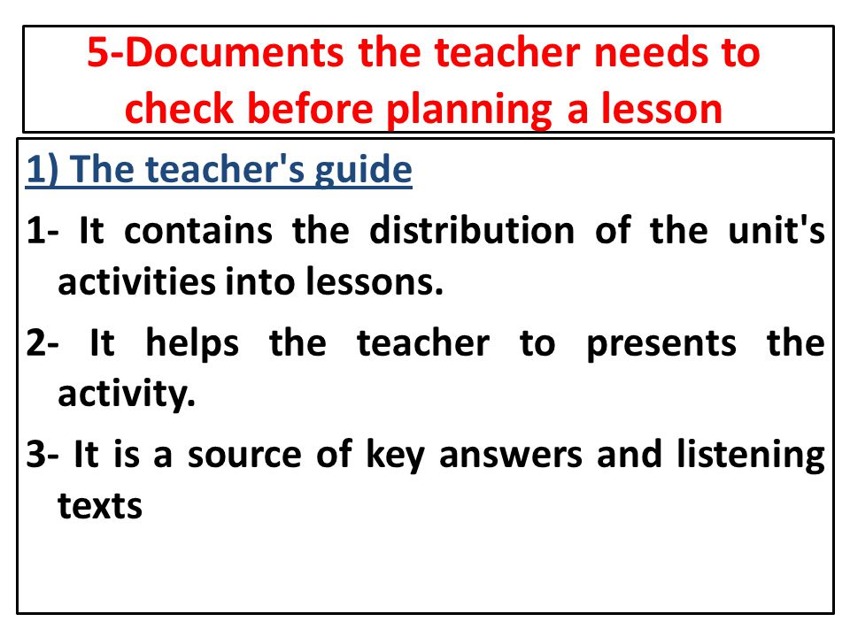 5-Documents the teacher needs to check before planning a lesson