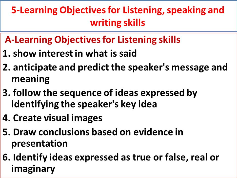 5-Learning Objectives for Listening, speaking and writing skills