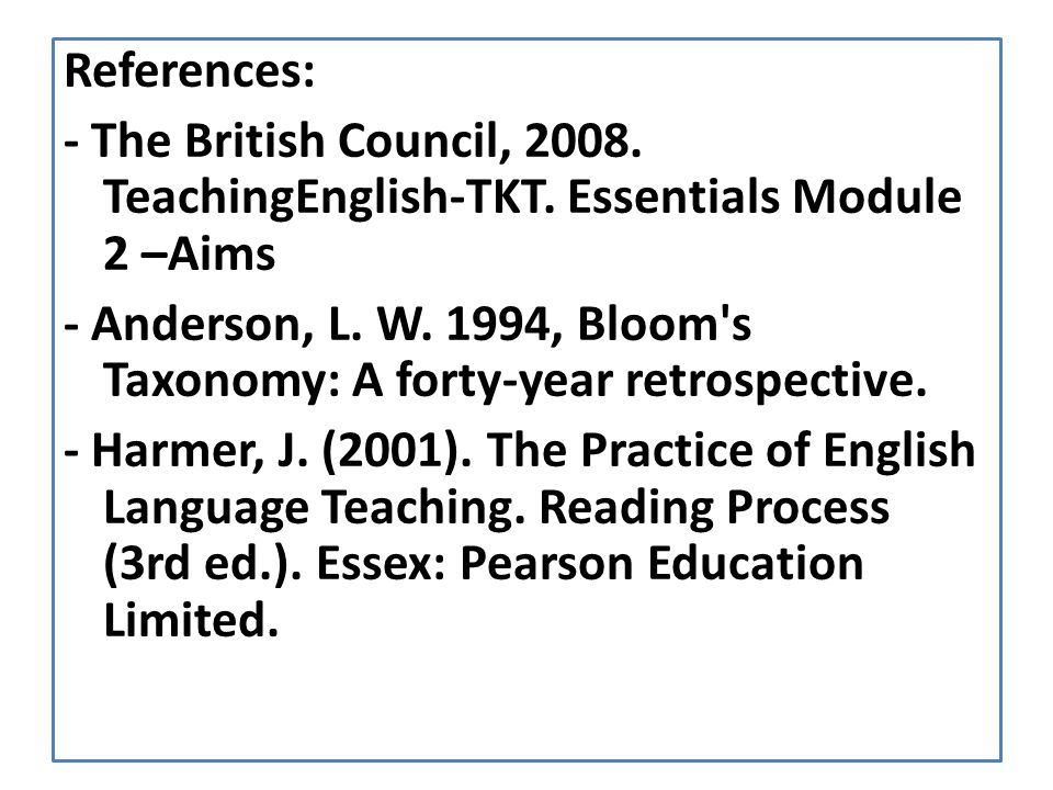 - Anderson, L. W. 1994, Bloom s Taxonomy: A forty-year retrospective.