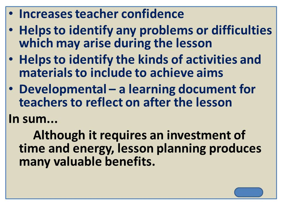 Increases teacher confidence