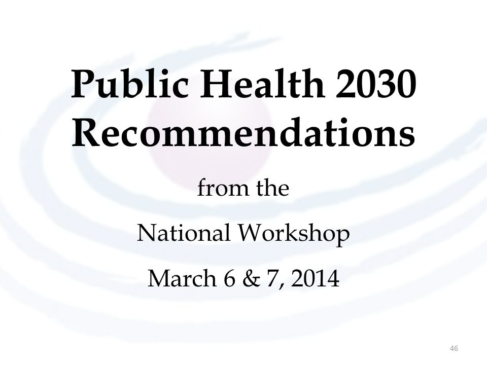 Public Health 2030 Recommendations