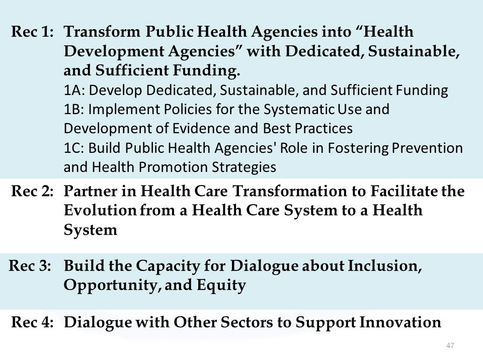 Rec 1: Transform Public Health Agencies into Health Development Agencies with Dedicated, Sustainable, and Sufficient Funding.