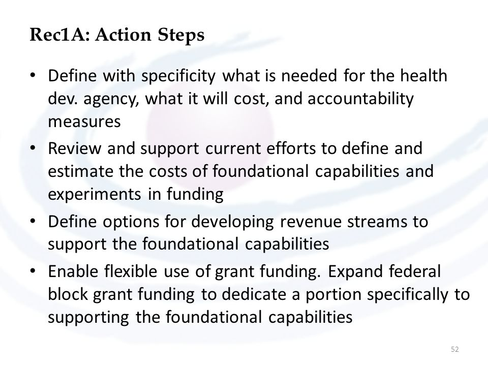 Rec1A: Action Steps Define with specificity what is needed for the health dev. agency, what it will cost, and accountability measures.