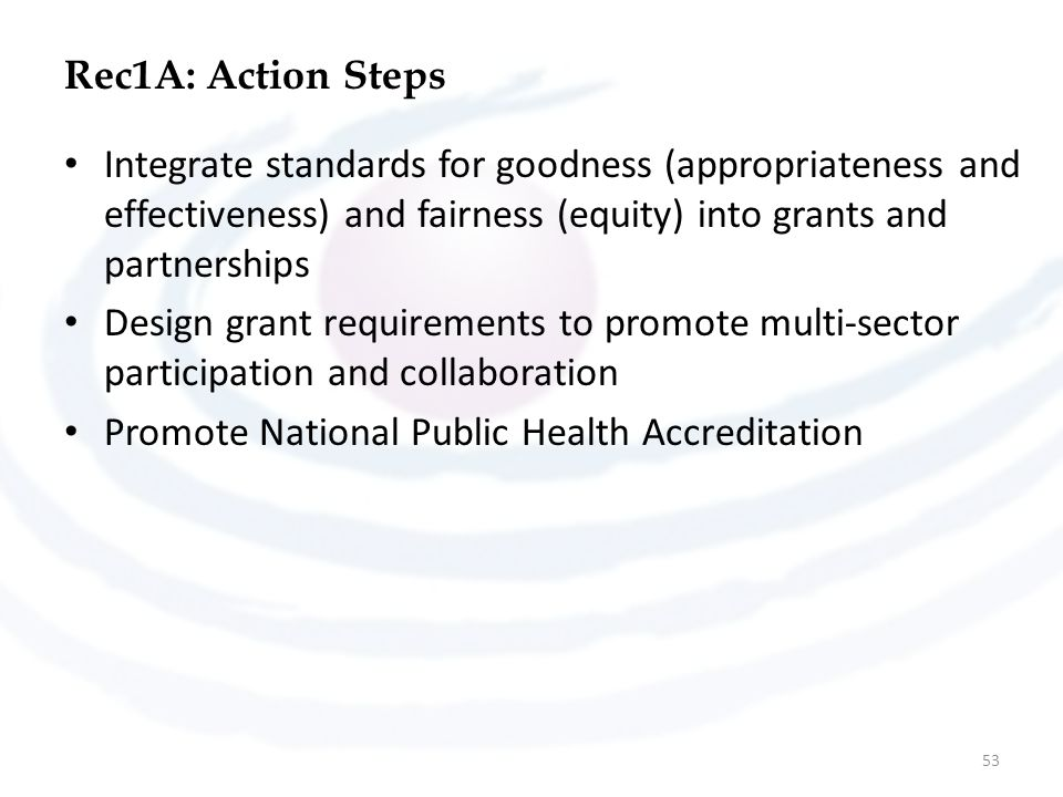 Rec1A: Action Steps Integrate standards for goodness (appropriateness and effectiveness) and fairness (equity) into grants and partnerships.
