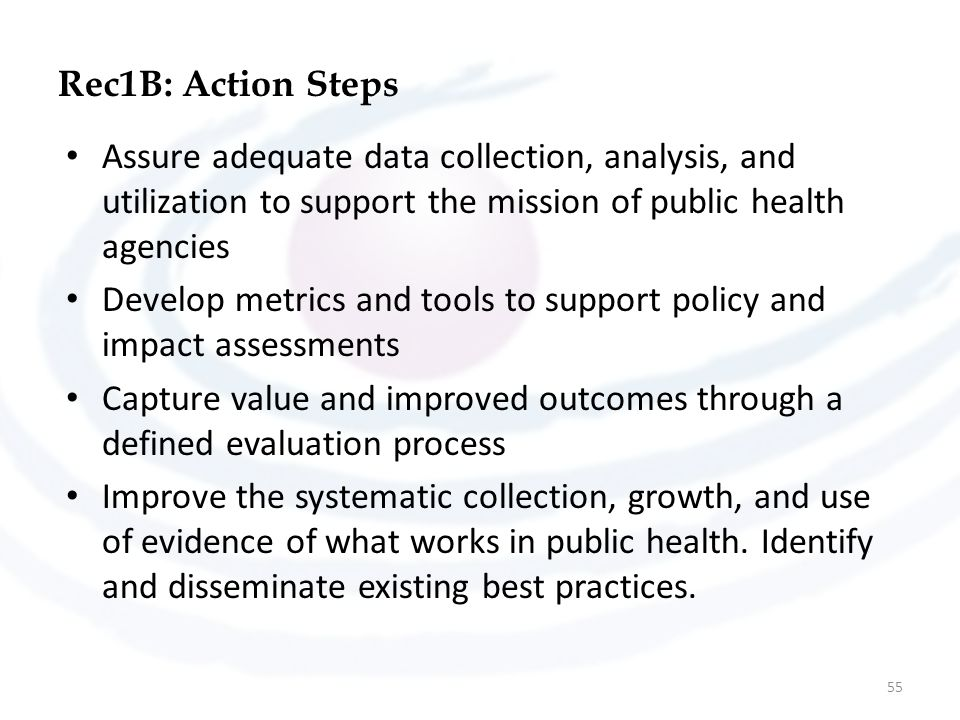 Rec1B: Action Steps Assure adequate data collection, analysis, and utilization to support the mission of public health agencies.