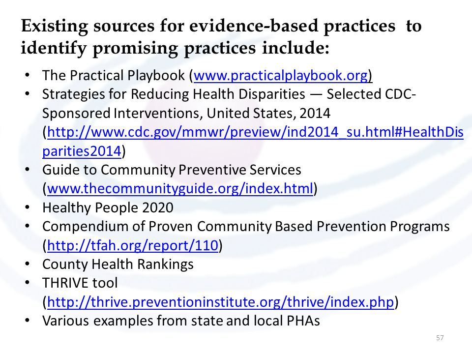 Existing sources for evidence-based practices to identify promising practices include: