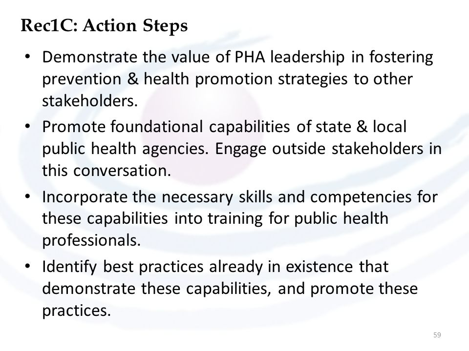 Rec1C: Action Steps Demonstrate the value of PHA leadership in fostering prevention & health promotion strategies to other stakeholders.