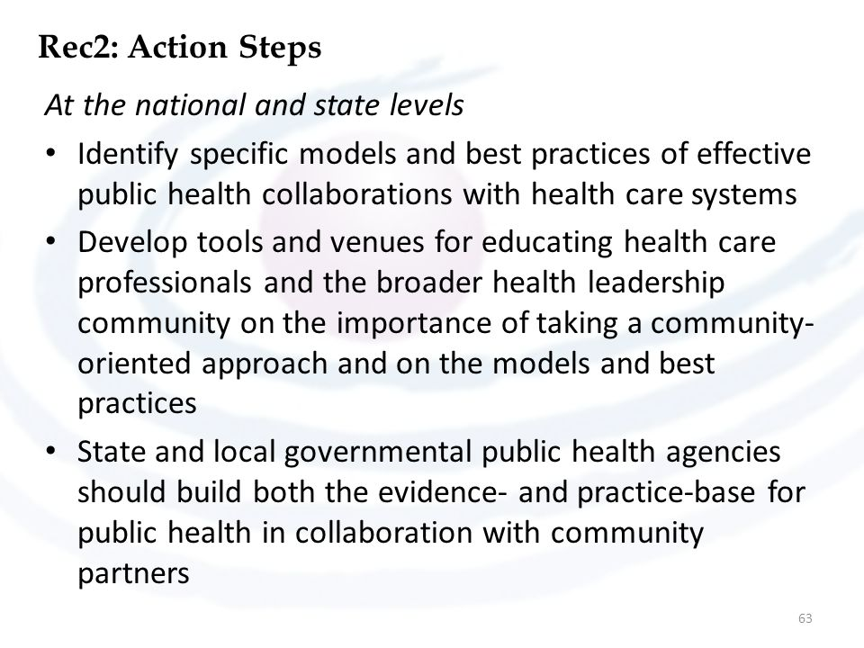 Rec2: Action Steps At the national and state levels.