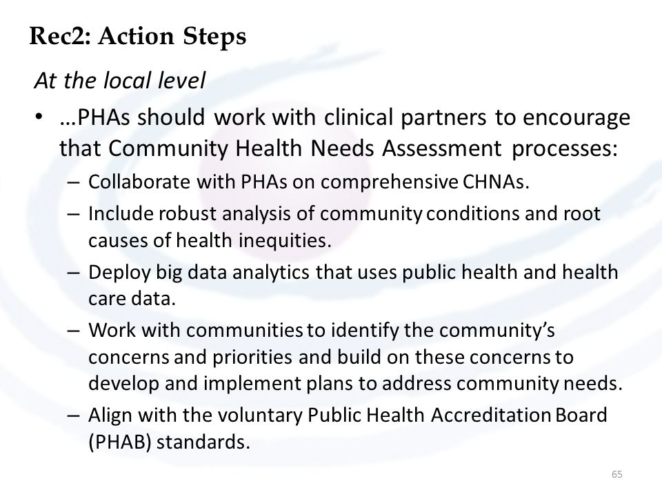 Rec2: Action Steps At the local level