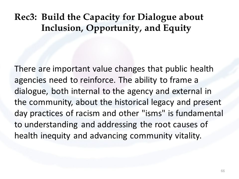 Rec3: Build the Capacity for Dialogue about Inclusion, Opportunity, and Equity