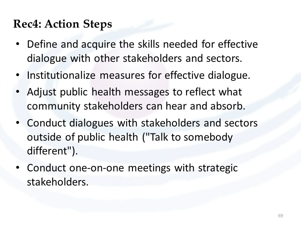 Rec4: Action Steps Define and acquire the skills needed for effective dialogue with other stakeholders and sectors.