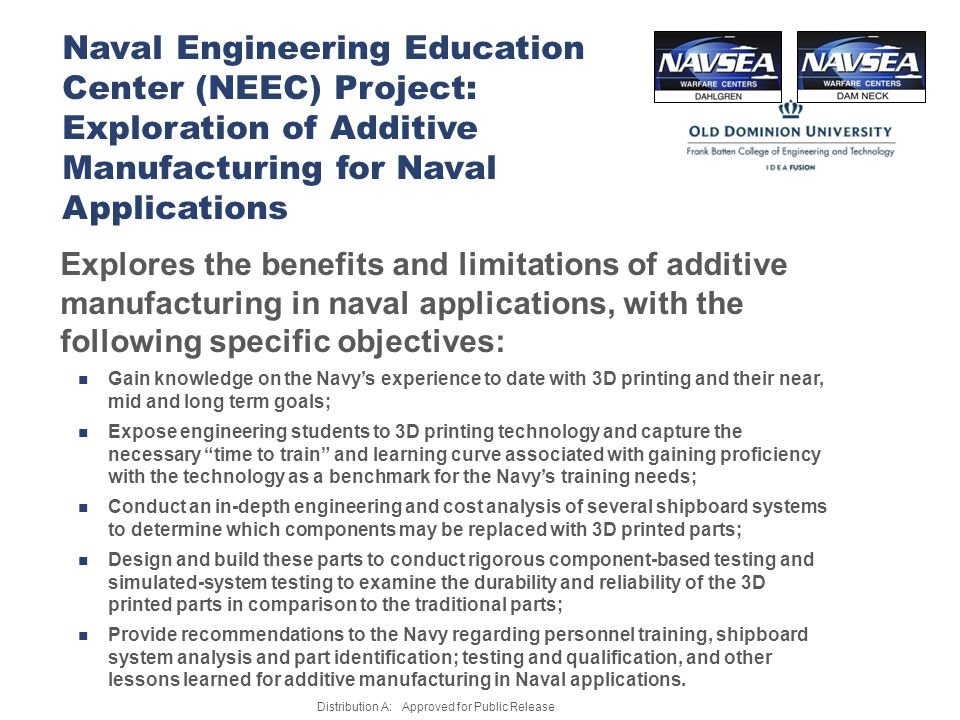 Naval Engineering Education Center (NEEC) Project: Exploration of Additive Manufacturing for Naval Applications