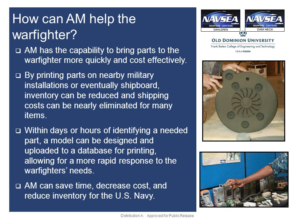 How can AM help the warfighter