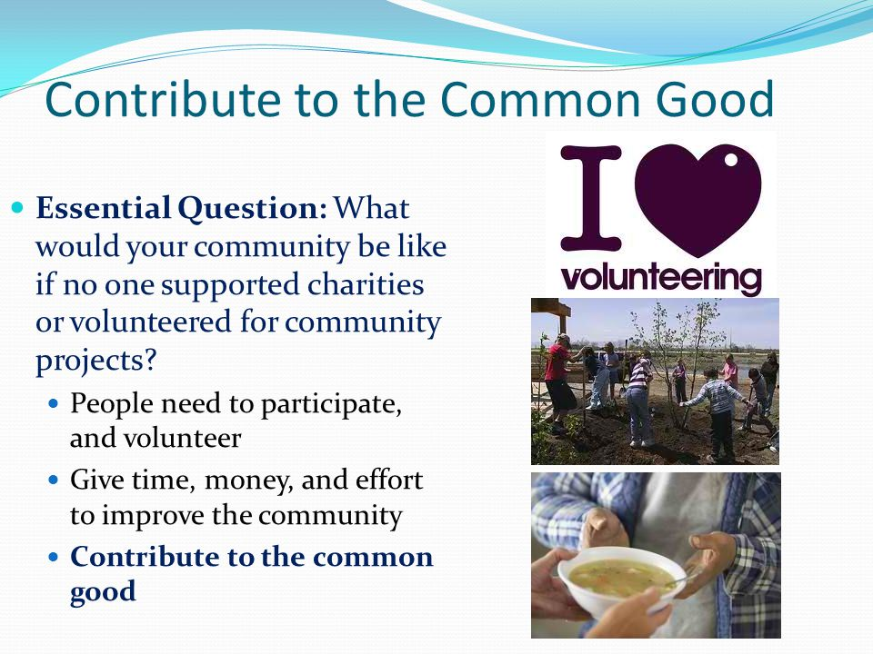 Contribute to the Common Good
