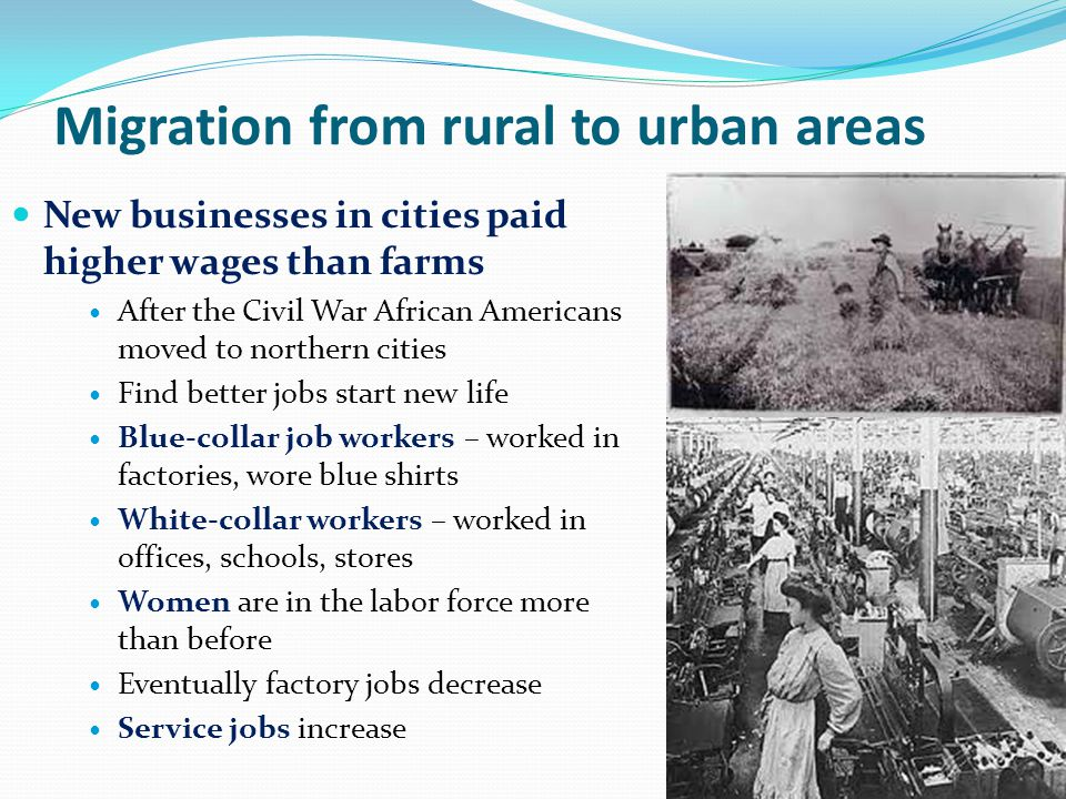 Migration from rural to urban areas