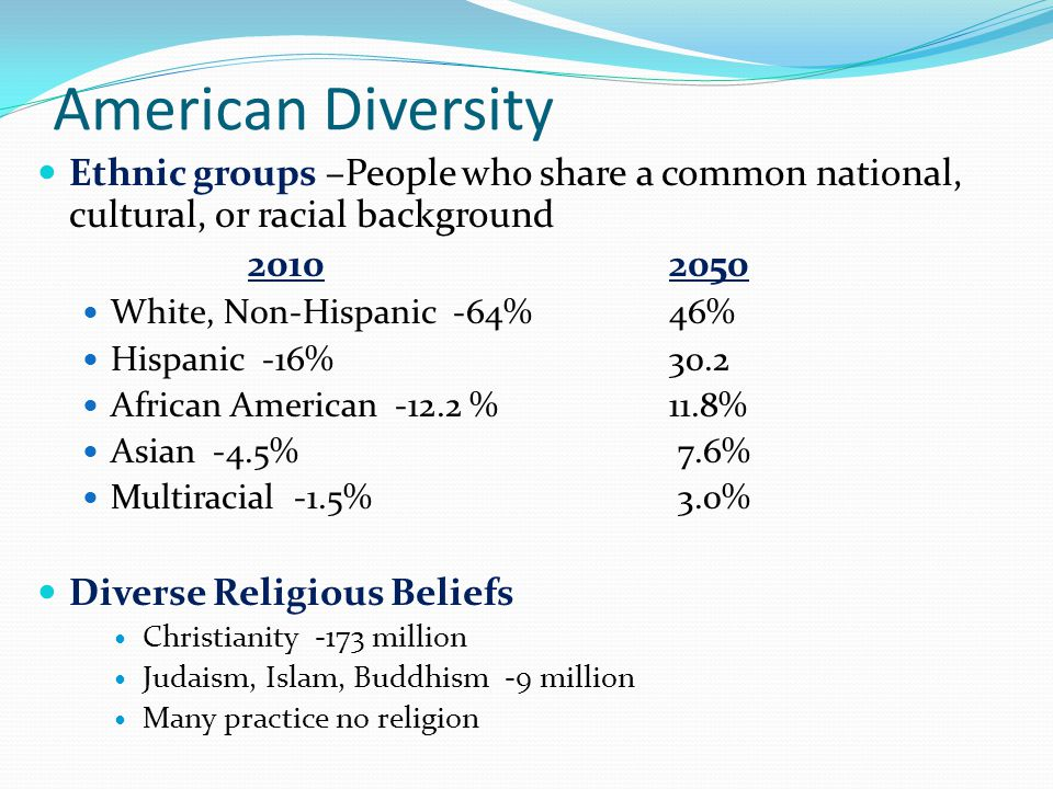 American Diversity Ethnic groups –People who share a common national, cultural, or racial background.