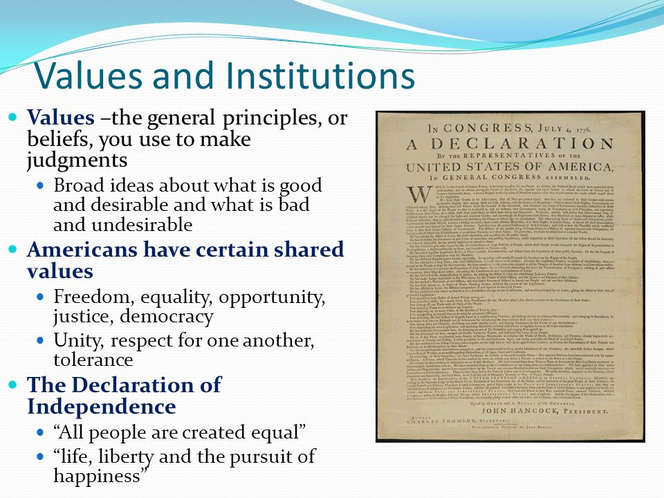 Values and Institutions