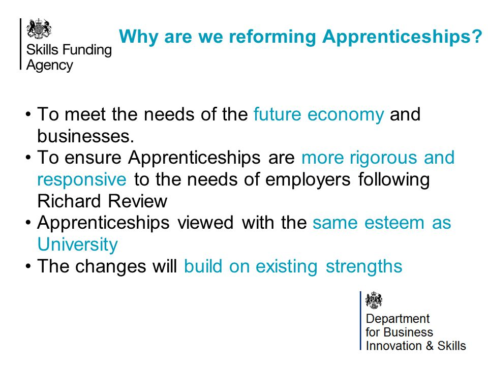 Why are we reforming Apprenticeships