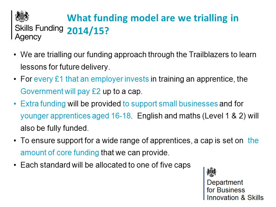 What funding model are we trialling in 2014/15