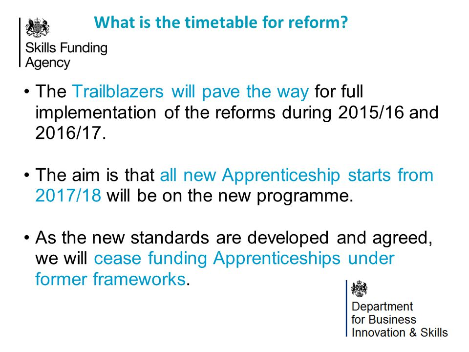 What is the timetable for reform