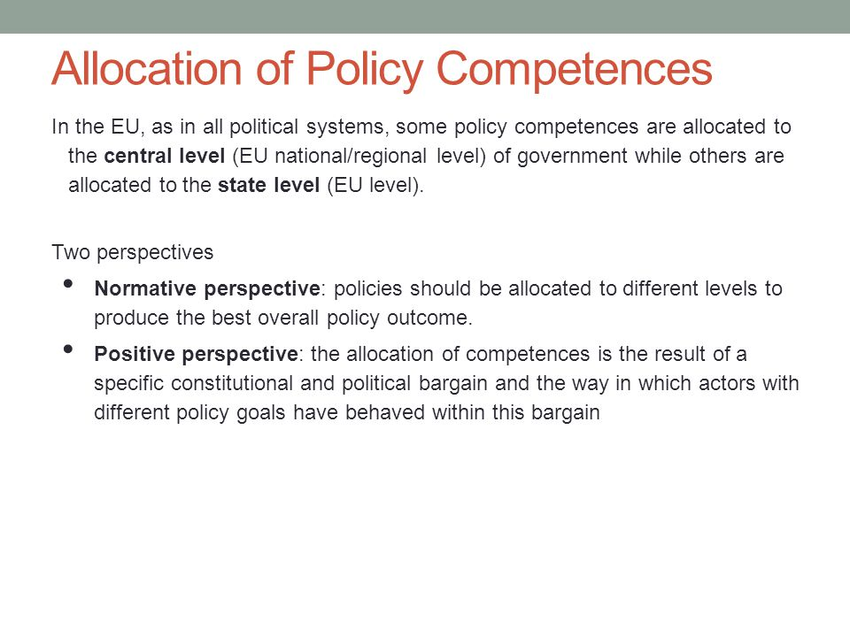 Allocation of Policy Competences