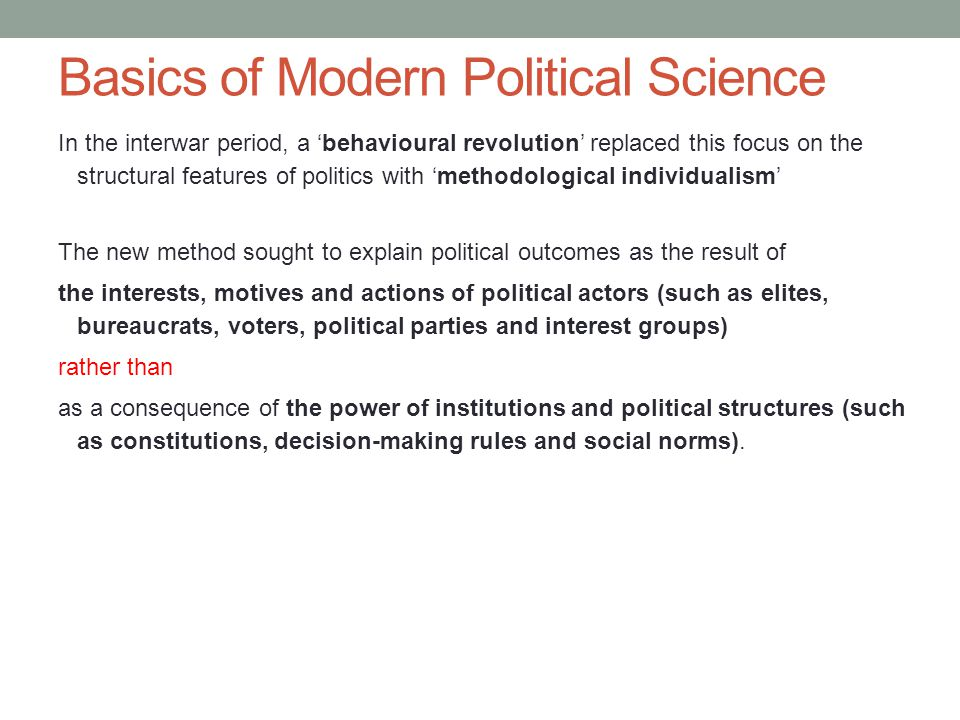 Basics of Modern Political Science