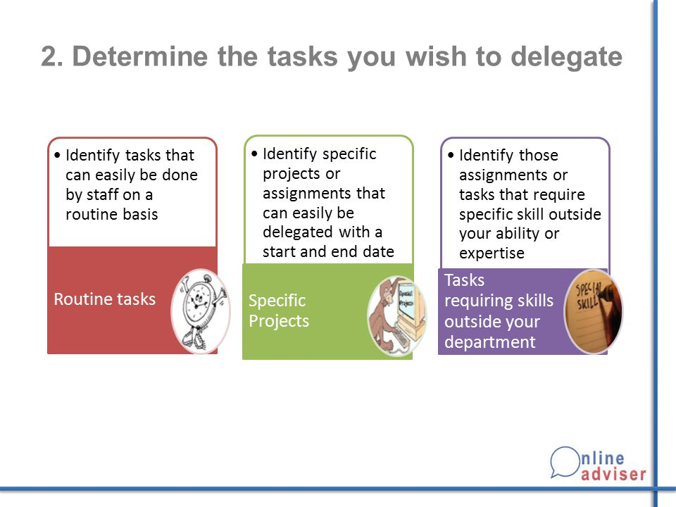 2. Determine the tasks you wish to delegate
